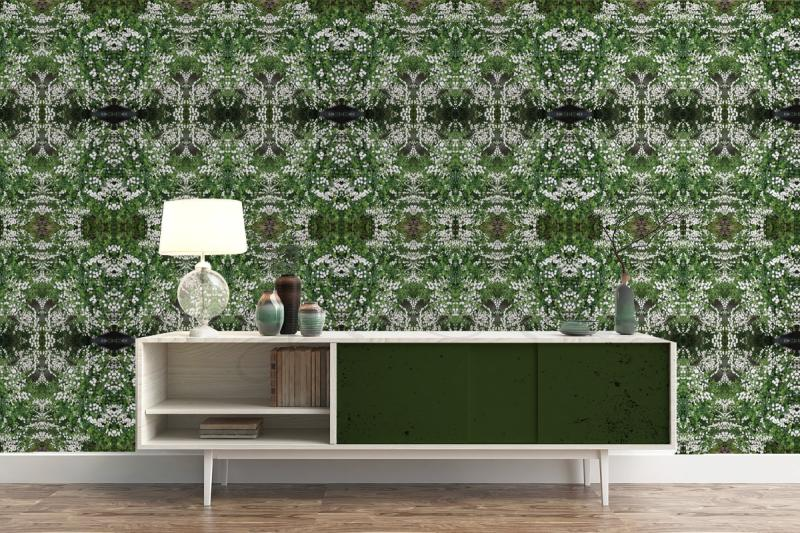 low cabinet wall green blossoms